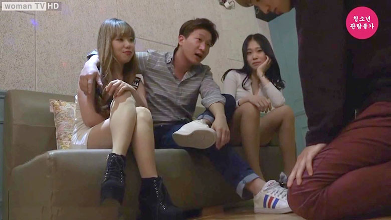 韓国カップル奴隷(女性2人+モテる男とM男)