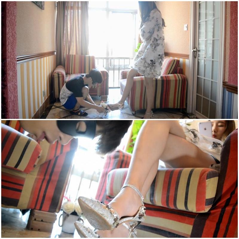 中国美女の汚れた靴を舐め掃除するM男
