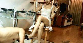 激しいビンタ&ハイヒールでM男の顔面蹴る中国女王様