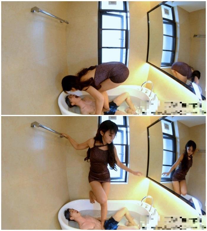 美脚に完全服従する中国のマゾ男