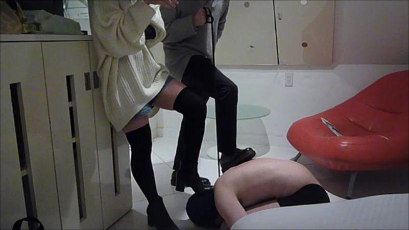 【カップル奴隷動画】ドS栞様と彼氏様によるカップルM男いじめ