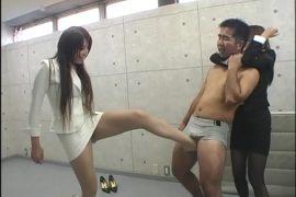 美脚金蹴り 女教師に蹴られて悶絶する男達